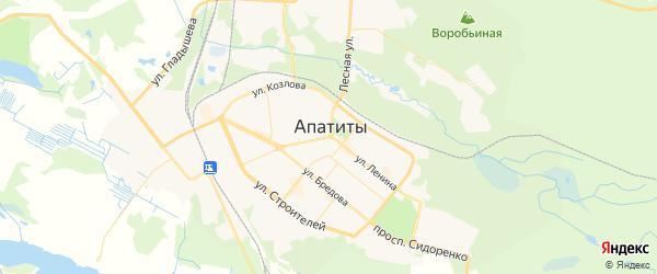 Карта Апатитов с районами, улицами и номерами домов: Апатиты на карте России