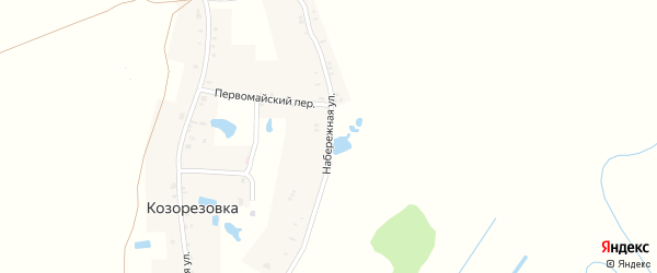 Набережная улица на карте деревни Козорезовки с номерами домов