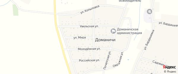 Улица Мира на карте села Доманичей с номерами домов