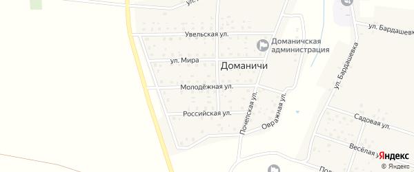 Молодежная улица на карте села Доманичей с номерами домов