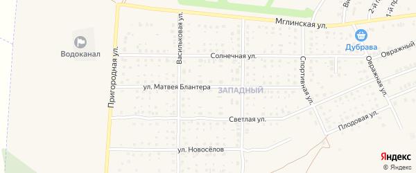 Улица Матвея Блантера на карте Почепа с номерами домов