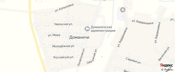 Почепская улица на карте села Доманичей с номерами домов