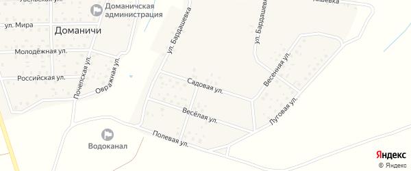 Садовая улица на карте села Доманичей с номерами домов