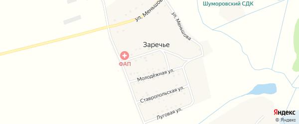 Садовая улица на карте деревни Заречья с номерами домов