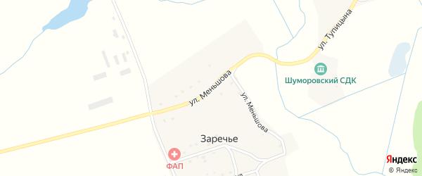 Улица Меньшова на карте поселка Заречья с номерами домов