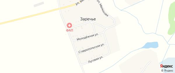 Молодежная улица на карте поселка Заречья с номерами домов