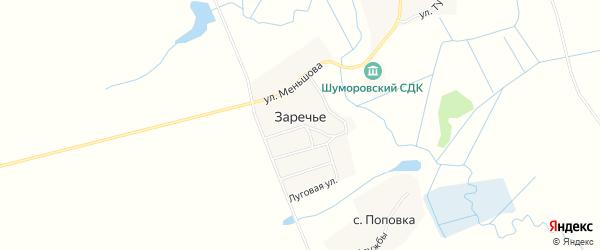 Карта деревни Заречья в Брянской области с улицами и номерами домов