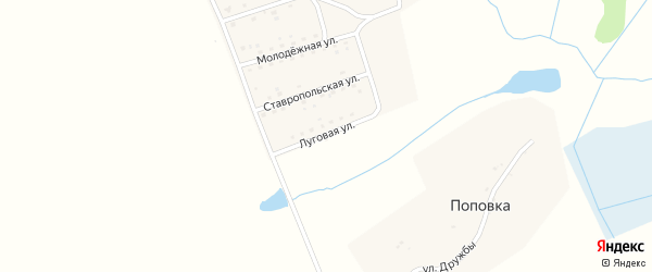 Луговая улица на карте поселка Заречья с номерами домов