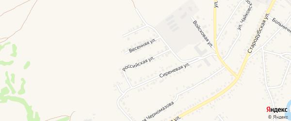 Российская улица на карте Почепа с номерами домов