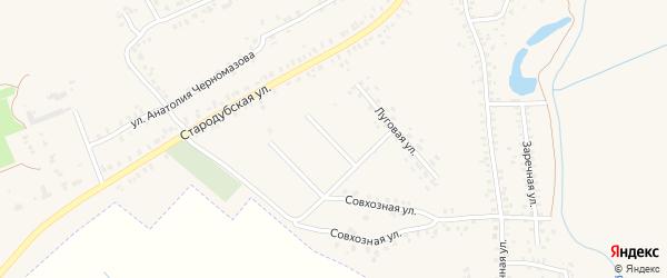 1-й Луговой переулок на карте Почепа с номерами домов