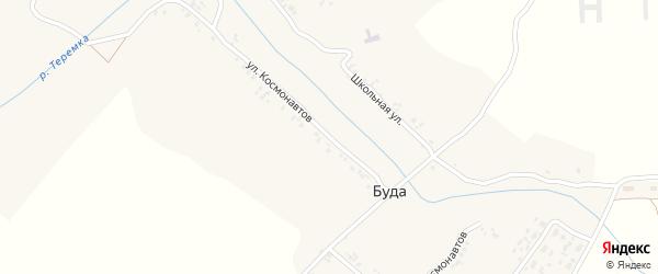 Улица Космонавтов на карте деревни Буды с номерами домов