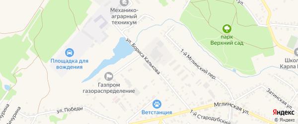 Улица Бориса Калькова на карте Почепа с номерами домов