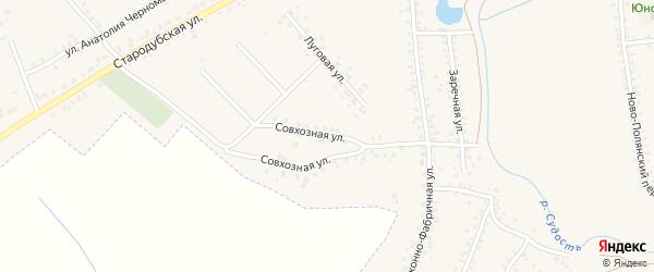 Совхозная улица на карте Почепа с номерами домов