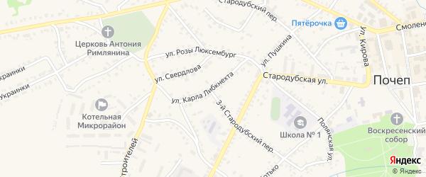 Улица Карла Либкнехта на карте Почепа с номерами домов