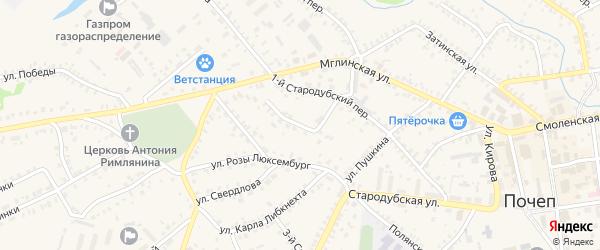Тупиковая улица на карте Почепа с номерами домов