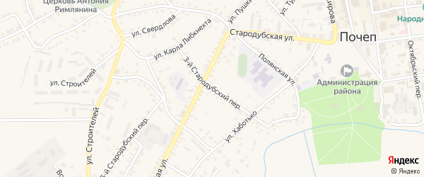 3-й Стародубский переулок на карте Почепа с номерами домов