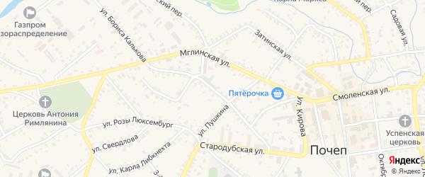 1-й Стародубский переулок на карте Почепа с номерами домов