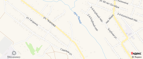 Переулок 1-й Чкалова на карте Почепа с номерами домов