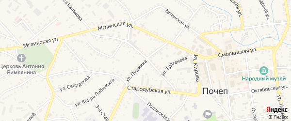 Улица Пушкина на карте Почепа с номерами домов