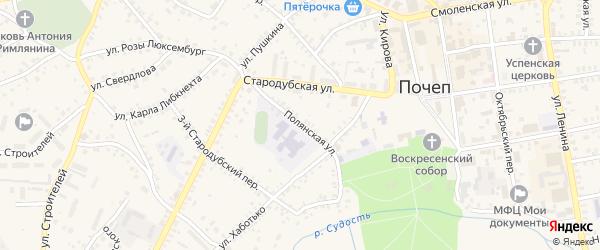 Полянская улица на карте Почепа с номерами домов