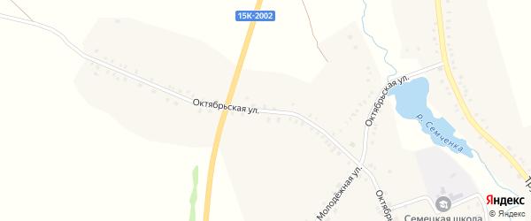 Октябрьская улица на карте села Семцев с номерами домов