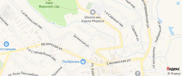 Затинский переулок на карте Почепа с номерами домов