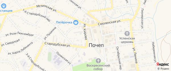 Улица Кирова на карте Почепа с номерами домов
