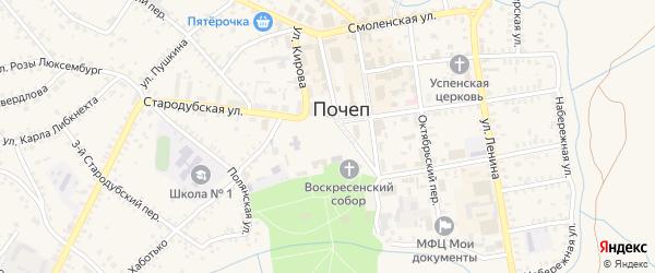 Октябрьская площадь на карте Почепа с номерами домов