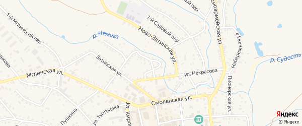 Ново-Затинский переулок на карте Почепа с номерами домов