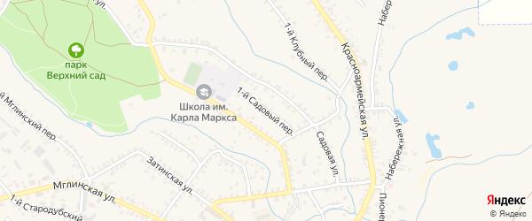 1-й Садовый переулок на карте Почепа с номерами домов