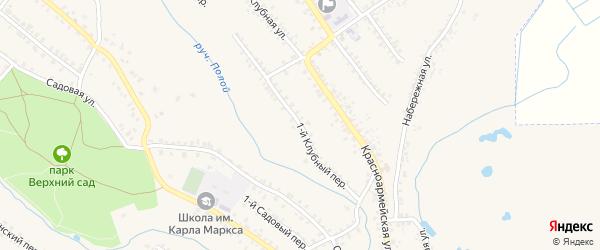 1-й Клубный переулок на карте Почепа с номерами домов
