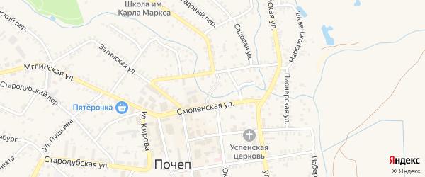 1-й Смоленский переулок на карте Почепа с номерами домов