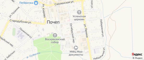 Октябрьский переулок на карте Почепа с номерами домов
