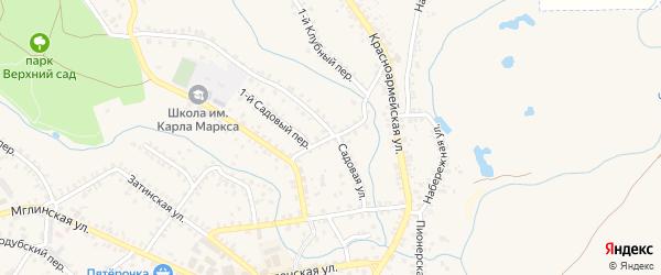 Садовый переулок на карте Почепа с номерами домов