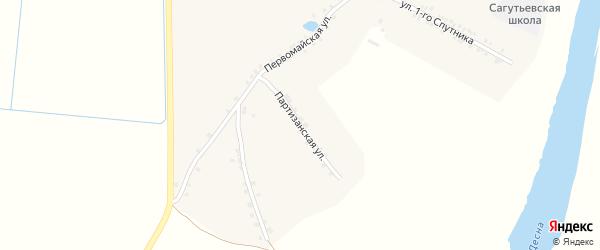 Партизанская улица на карте деревни Сагутьево с номерами домов