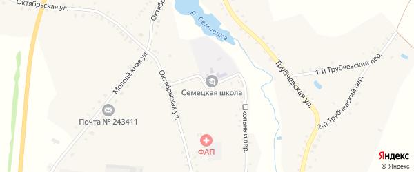 Школьный переулок на карте села Семцев с номерами домов