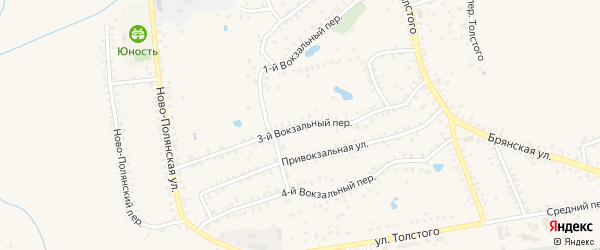 3-й Вокзальный переулок на карте Почепа с номерами домов