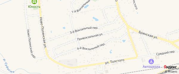 Привокзальная улица на карте Почепа с номерами домов
