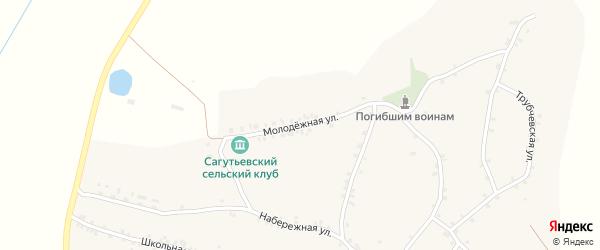 Молодежная улица на карте деревни Сагутьево с номерами домов