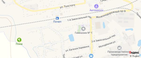 1-й Завокзальный переулок на карте Почепа с номерами домов
