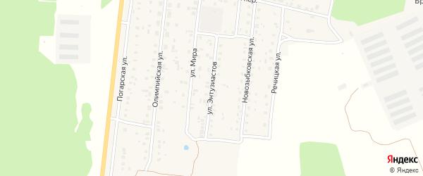 Улица Энтузиастов на карте поселка Речицы с номерами домов