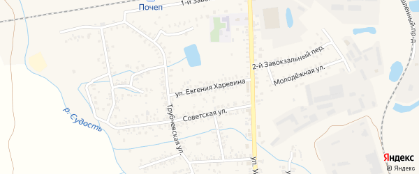 Улица Евгения Харевина на карте Почепа с номерами домов