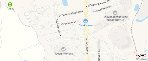 2-й Комсомольский переулок на карте Почепа с номерами домов
