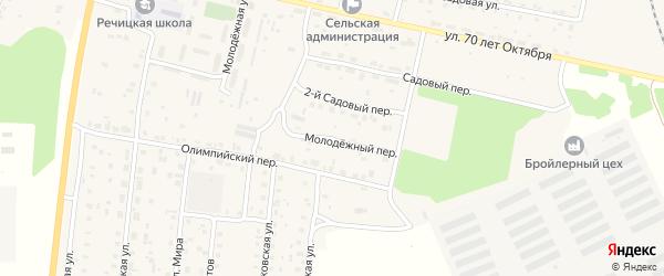 Молодежный переулок на карте поселка Речицы с номерами домов