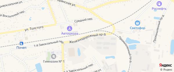 Железнодорожный проезд на карте Почепа с номерами домов