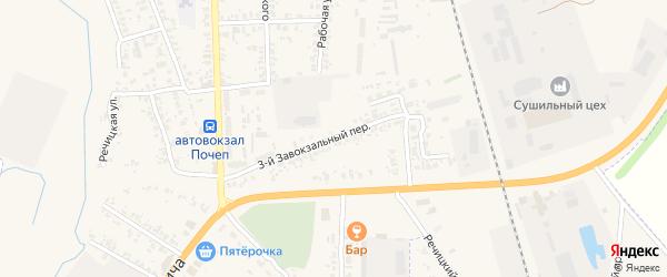 3-й Завокзальный переулок на карте Почепа с номерами домов