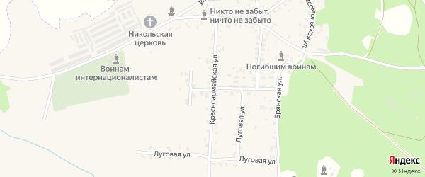 Красноармейская улица на карте поселка Белой Березки с номерами домов