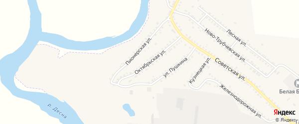 Октябрьская улица на карте поселка Белой Березки с номерами домов