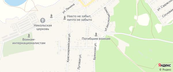 Зеленая улица на карте поселка Белой Березки с номерами домов