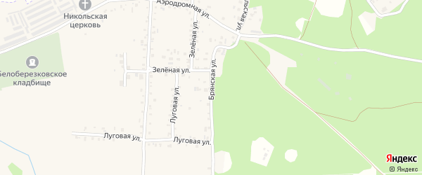 Брянская улица на карте поселка Белой Березки с номерами домов